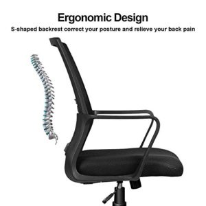 Comhoma Office Chair Ergonomic Desk Chair Mesh Computer Chair Mid Back Mesh Home Office Swivel Chair Modern Executive Chair With Armrests Lumbar Supportblack 0 3