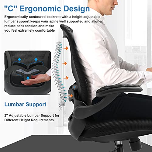 Comhoma Office Chair Ergonomic Desk Chair Mesh Computer Chair With Flip Up Arms Lumbar Support Rolling Swivel Adjustable Home Office Task Chair Black 0 0