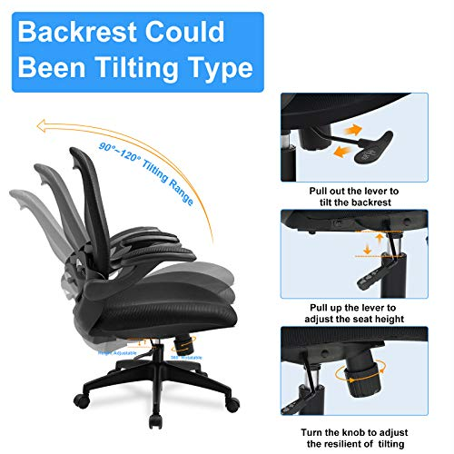 Comhoma Office Chair Ergonomic Desk Chair Mesh Computer Chair With Flip Up Arms Lumbar Support Rolling Swivel Adjustable Home Office Task Chair Black 0 3