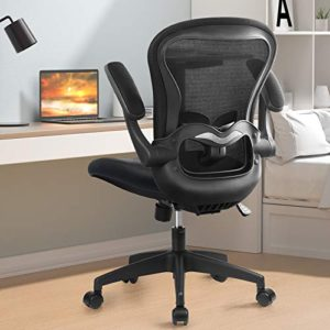 Comhoma Office Chair Ergonomic Desk Chair Mesh Computer Chair With Flip Up Arms Lumbar Support Rolling Swivel Adjustable Home Office Task Chair Black 0