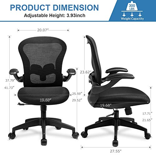 Comhoma Office Chair Ergonomic Desk Chair Mesh Computer Chair With Flip Up Arms Lumbar Support Rolling Swivel Adjustable Home Office Task Chair Black 0 4