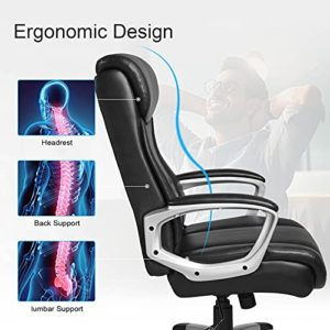Comhoma Office Executive Chair High Back Comfortable Ergonomic Managerial Chair Adjustable Home Office Desk Chair Swivel Black 0 1