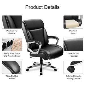 Comhoma Office Executive Chair High Back Comfortable Ergonomic Managerial Chair Adjustable Home Office Desk Chair Swivel Black 0 3