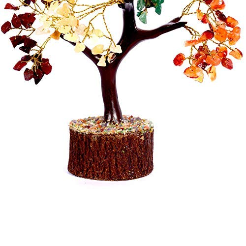 Crocon Seven Chakra Natural Healing Gemstone Crystal Bonsai Fortune Money Tree For Good Luck Wealth Prosperity Home Office Decor Spiritual Gift With Golden Wire And 300 Beads Size 10 12 Inches 0 1