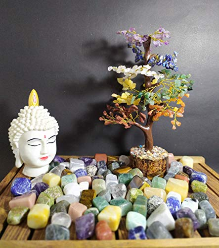Crocon Seven Chakra Natural Healing Gemstone Crystal Bonsai Fortune Money Tree For Good Luck Wealth Prosperity Home Office Decor Spiritual Gift With Golden Wire And 300 Beads Size 10 12 Inches 0 2