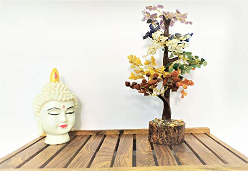 Crocon Seven Chakra Natural Healing Gemstone Crystal Bonsai Fortune Money Tree For Good Luck Wealth Prosperity Home Office Decor Spiritual Gift With Golden Wire And 300 Beads Size 10 12 Inches 0 3