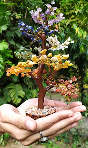 Crocon Seven Chakra Natural Healing Gemstone Crystal Bonsai Fortune Money Tree For Good Luck Wealth Prosperity Home Office Decor Spiritual Gift With Golden Wire And 300 Beads Size 10 12 Inches 0 4