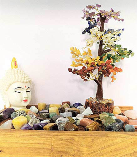 Crocon Seven Chakra Natural Healing Gemstone Crystal Bonsai Fortune Money Tree For Good Luck Wealth Prosperity Home Office Decor Spiritual Gift With Golden Wire And 300 Beads Size 10 12 Inches 0 5