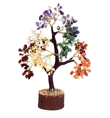 Crocon Seven Chakra Natural Healing Gemstone Crystal Bonsai Fortune Money Tree For Good Luck Wealth Prosperity Home Office Decor Spiritual Gift With Golden Wire And 300 Beads Size 10 12 Inches 0