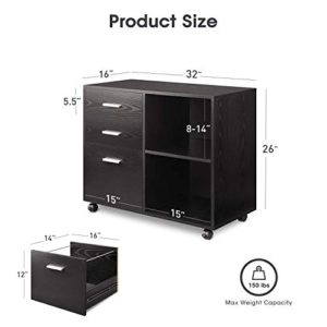 Devaise 3 Drawer Wood File Cabinet Mobile Lateral Filing Cabinet Printer Stand With Open Storage Shelves For Home Office Black 0 4