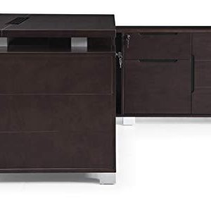 Dark Wood Finish Ford Executive Modern Desk With Filing Cabinets Right Return 0 2
