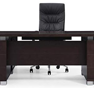 Dark Wood Finish Ford Executive Modern Desk With Filing Cabinets Right Return 0 4