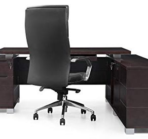 Dark Wood Finish Ford Executive Modern Desk With Filing Cabinets Right Return 0 5