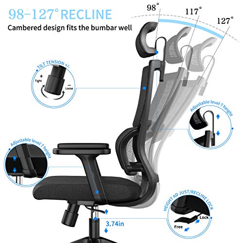 Ergonomic Office Chair With Upgraded Lumbar Support And Adjustable Armrest Headrest Desk Chair With Mesh High Back Home Office Desk Chair Computer Chair Rolling Chair 0 1