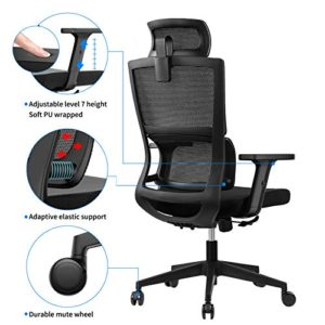 Ergonomic Office Chair With Upgraded Lumbar Support And Adjustable Armrest Headrest Desk Chair With Mesh High Back Home Office Desk Chair Computer Chair Rolling Chair 0 2