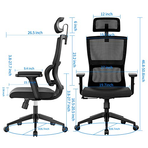 Ergonomic Office Chair With Upgraded Lumbar Support And Adjustable Armrest Headrest Desk Chair With Mesh High Back Home Office Desk Chair Computer Chair Rolling Chair 0 3