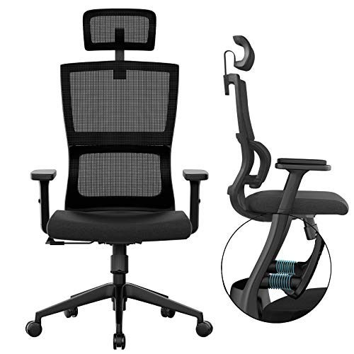 Ergonomic Office Chair With Upgraded Lumbar Support And Adjustable Armrest Headrest Desk Chair With Mesh High Back Home Office Desk Chair Computer Chair Rolling Chair 0