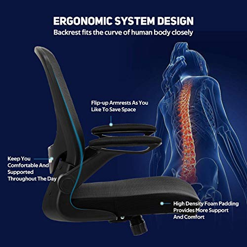 Faluoda Home Office Chair Height Adjustable Upholstered Mesh Swivel Computer Office Ergonomic Desk Chair With Lumbar Support Black 03 0 1