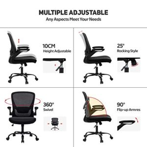 Faluoda Home Office Chair Height Adjustable Upholstered Mesh Swivel Computer Office Ergonomic Desk Chair With Lumbar Support Black 03 0 2