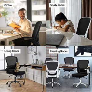 Faluoda Home Office Chair Height Adjustable Upholstered Mesh Swivel Computer Office Ergonomic Desk Chair With Lumbar Support Black 03 0 4