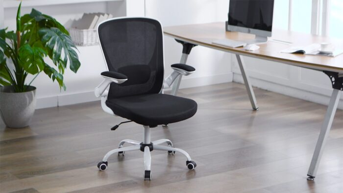 Faluoda Home Office Chair Height Adjustable Upholstered Mesh Swivel Computer Office Ergonomic Desk Chair With Lumbar Support Black 03 0 5
