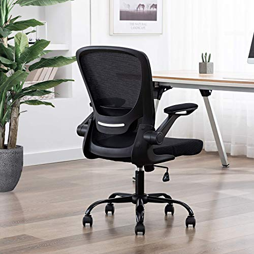 Faluoda Home Office Chair Height Adjustable Upholstered Mesh Swivel Computer Office Ergonomic Desk Chair With Lumbar Support Black 03 0