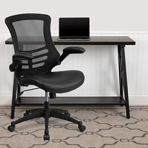 Flash Furniture Desk Chair With Wheels Swivel Chair With Mid Back Black Mesh And Leathersoft Seat For Home Office And Desk 0 0