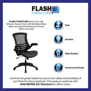 Flash Furniture Desk Chair With Wheels Swivel Chair With Mid Back Black Mesh And Leathersoft Seat For Home Office And Desk 0 2
