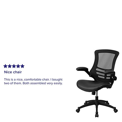 Flash Furniture Desk Chair With Wheels Swivel Chair With Mid Back Black Mesh And Leathersoft Seat For Home Office And Desk 0 3