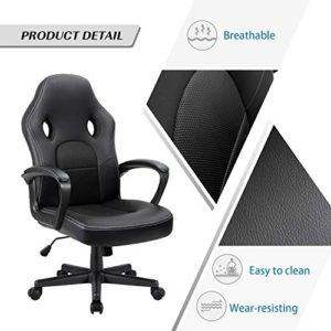 Furmax Office Desk Leather Gaming High Back Ergonomic Adjustable Racing Task Swivel Executive Computer Chair Headrest And Lumbar Support Black 0 1