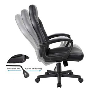 Furmax Office Desk Leather Gaming High Back Ergonomic Adjustable Racing Task Swivel Executive Computer Chair Headrest And Lumbar Support Black 0 2