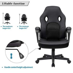 Furmax Office Desk Leather Gaming High Back Ergonomic Adjustable Racing Task Swivel Executive Computer Chair Headrest And Lumbar Support Black 0 3