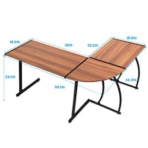Greenforest L Shaped Gaming Computer Desk 581L Shape Corner Gaming Tablewriting Studying Pc Laptop Workstation 3 Piece For Home Office Bedroom Living Roombright Walnut 0 0