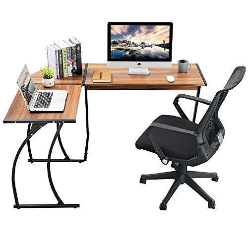 Greenforest L Shaped Gaming Computer Desk 581L Shape Corner Gaming Tablewriting Studying Pc Laptop Workstation 3 Piece For Home Office Bedroom Living Roombright Walnut 0 1