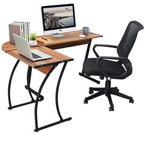 Greenforest L Shaped Gaming Computer Desk 581L Shape Corner Gaming Tablewriting Studying Pc Laptop Workstation 3 Piece For Home Office Bedroom Living Roombright Walnut 0 2