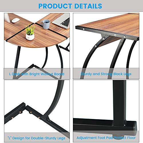 Greenforest L Shaped Gaming Computer Desk 581L Shape Corner Gaming Tablewriting Studying Pc Laptop Workstation 3 Piece For Home Office Bedroom Living Roombright Walnut 0 3