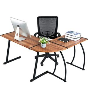 Greenforest L Shaped Gaming Computer Desk 581L Shape Corner Gaming Tablewriting Studying Pc Laptop Workstation 3 Piece For Home Office Bedroom Living Roombright Walnut 0