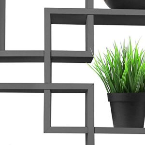 Greenco 4 Cube Intersecting Wall Mounted Floating Shelves Gray Finish 0 2