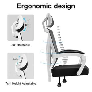 Hbada Ergonomic Home Office Chair High Back Desk Chair Racing Style With Lumbar Support Height Adjustable Seatheadrest Breathable Mesh Back Soft Foam Seat Cushion White 0 1