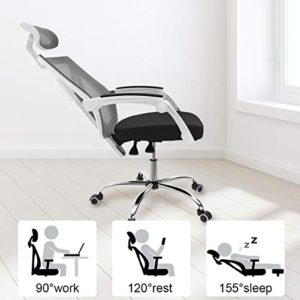 Hbada Ergonomic Home Office Chair High Back Desk Chair Racing Style With Lumbar Support Height Adjustable Seatheadrest Breathable Mesh Back Soft Foam Seat Cushion White 0 2