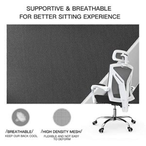 Hbada Ergonomic Home Office Chair High Back Desk Chair Racing Style With Lumbar Support Height Adjustable Seatheadrest Breathable Mesh Back Soft Foam Seat Cushion White 0 3