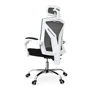 Hbada Ergonomic Home Office Chair High Back Desk Chair Racing Style With Lumbar Support Height Adjustable Seatheadrest Breathable Mesh Back Soft Foam Seat Cushion White 0