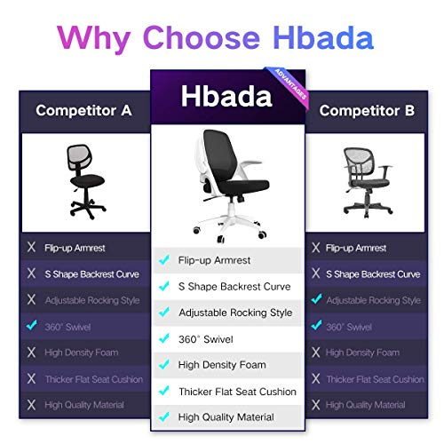 Hbada Office Task Desk Chair Swivel Home Comfort Chairs With Flip Up Arms And Adjustable Height White 0 0