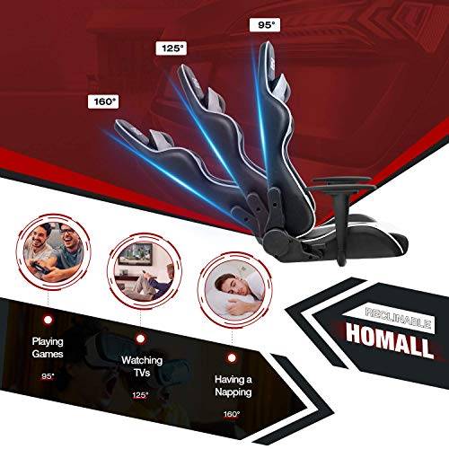 Homall Racing Pu Leather Swivel Chair And 436 Inch Z Shaped Computer Desk Table Gaming Home Office Furniture Sets White 0 2