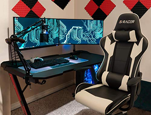 Homall Racing Pu Leather Swivel Chair And 436 Inch Z Shaped Computer Desk Table Gaming Home Office Furniture Sets White 0 4