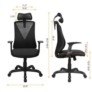 Home Office Chair Ergonomic Desk Chair High Back Mesh Computer Chair With Adjustable Height And Elastic Lumbar Supportthick Seat Cushionexecutive Swivel Task Chair For Conference Room 0 2