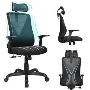 Home Office Chair Ergonomic Desk Chair High Back Mesh Computer Chair With Adjustable Height And Elastic Lumbar Supportthick Seat Cushionexecutive Swivel Task Chair For Conference Room 0