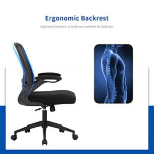 Home Office Chair Ergonomic Desk Chair Mesh Computer Chair Swivel Rolling Executive Task Chair With Lumbar Support Arms Mid Back Adjustable Chair For Men Adults Black 0 1