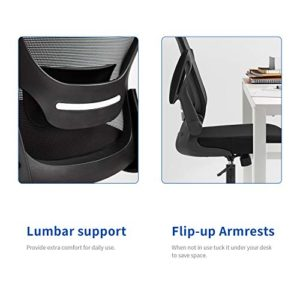 Home Office Chair Ergonomic Desk Chair Mesh Computer Chair Swivel Rolling Executive Task Chair With Lumbar Support Arms Mid Back Adjustable Chair For Men Adults Black 0 2