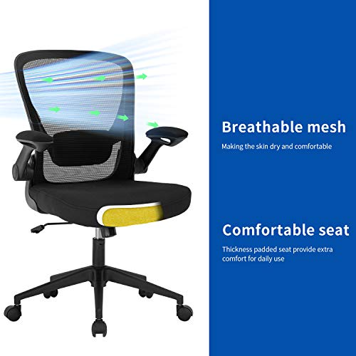 Home Office Chair Ergonomic Desk Chair Mesh Computer Chair Swivel Rolling Executive Task Chair With Lumbar Support Arms Mid Back Adjustable Chair For Men Adults Black 0 3